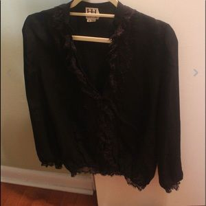 Haute Hippie blouse black long sleeve